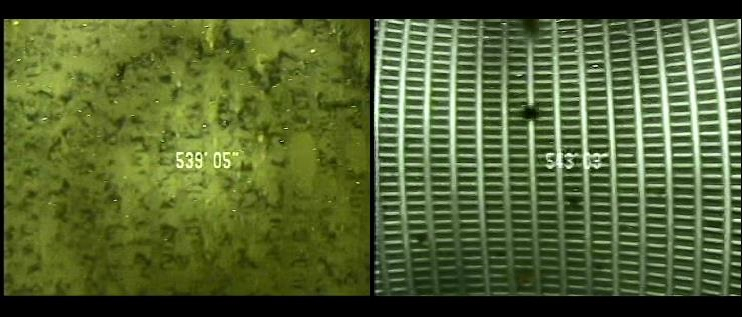 Before-and-after pictures of the Sonar-Jetting process to remove debris from wells.