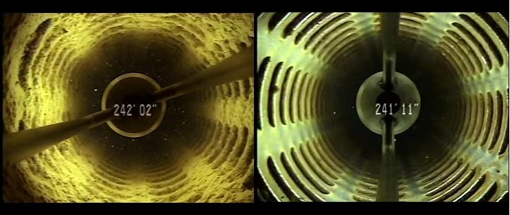 Sonar-Jetting patented process to clean accumulated debris from well casing to improve performance. Before and after pictures.